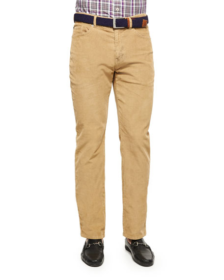 Peter Millar NanoLuxe Five-Pocket Corduroy Pants, Khaki