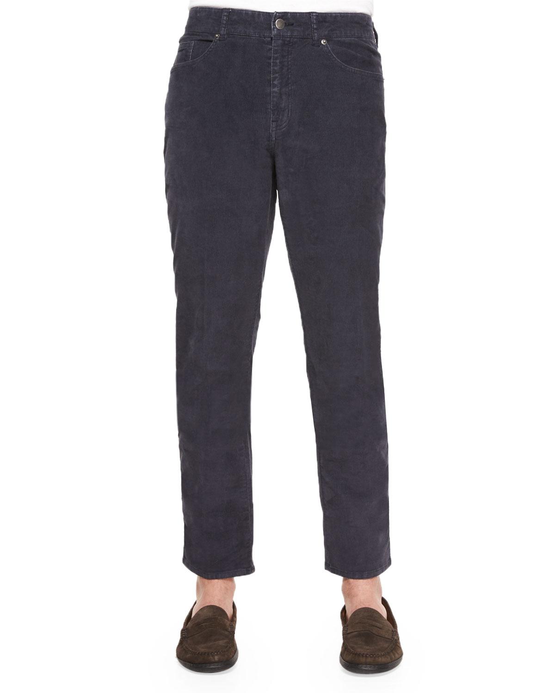 8547d4d4702923 Peter Millar Five-Pocket Stretch Corduroy Pants, Navy | Neiman Marcus