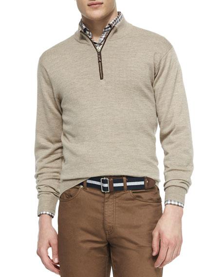 Peter Millar Napa Quarter-Zip Pullover Sweater, Tan