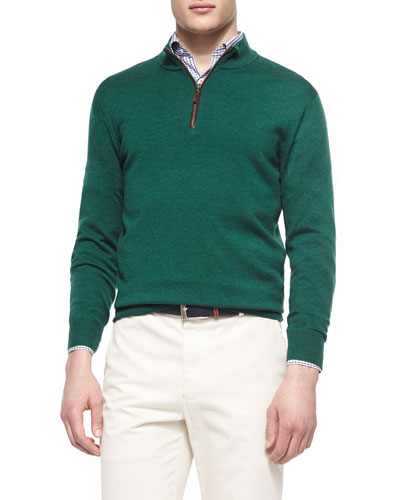 Leather-Placket Quarter-Zip Pullover, Green