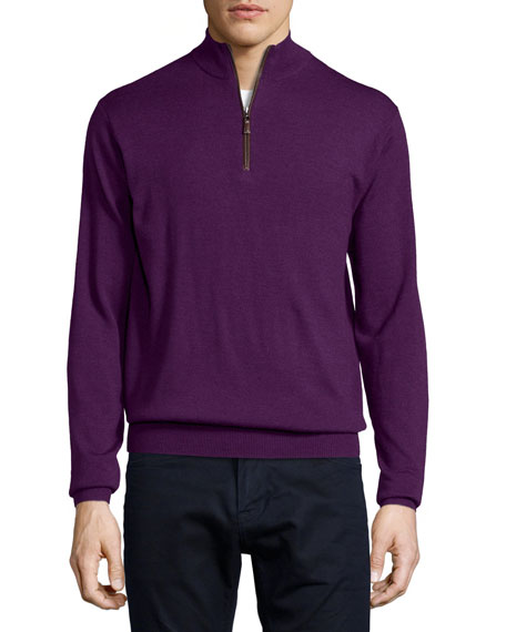 Peter Millar Quarter-Zip Wool Sweater, Purple