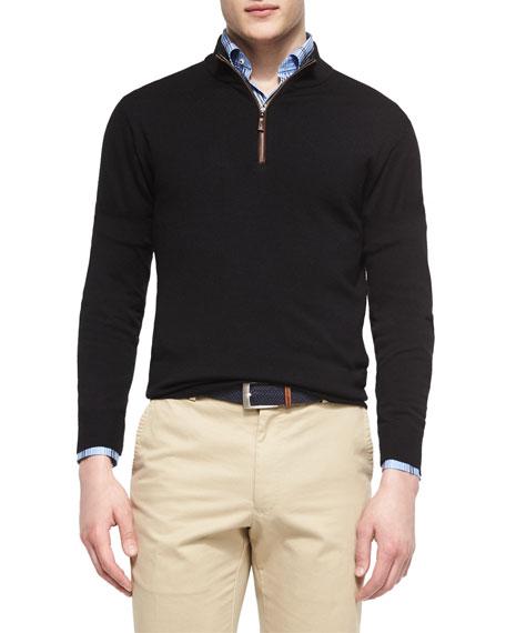 Peter Millar Leather-Trimmed Quarter-Zip Pullover, Black