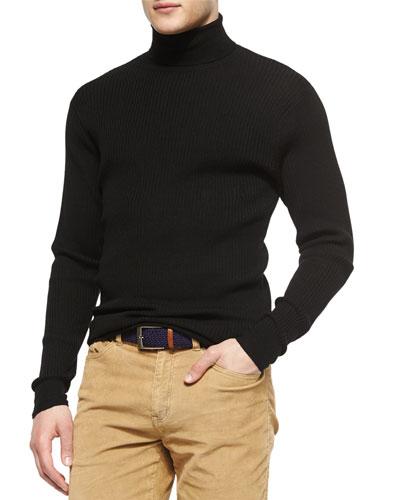 Textured Wool Turtleneck Sweater, Black