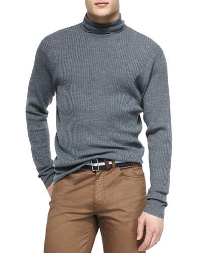 Merino Wool Turtleneck Sweater, Charcoal