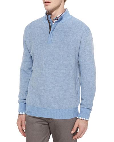 Textured Wool Quarter-Zip Pullover Sweater, Blue