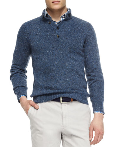 Donegal Wool Henley Sweater, Blue