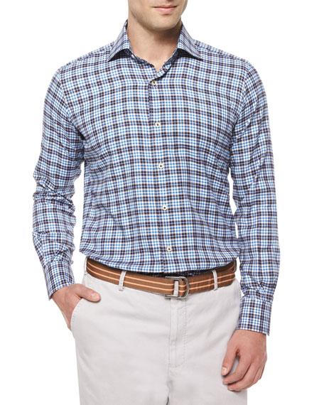 Peter MillarMilano Windowpane Woven Sport Shirt, Blue
