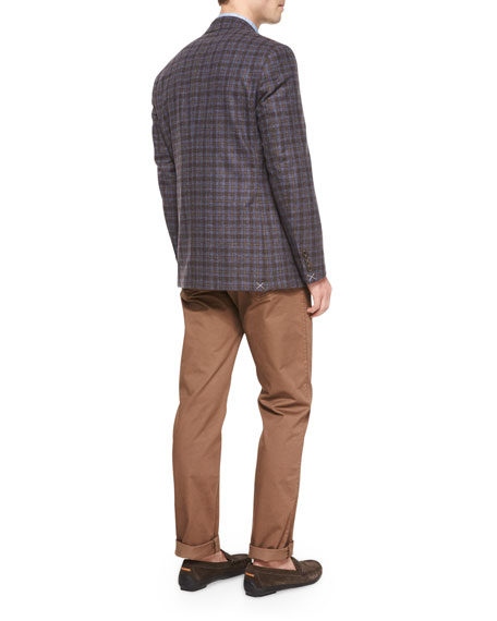 Peter Millar Napoli Plaid Two-Button Wool Sport Coat, Navy
