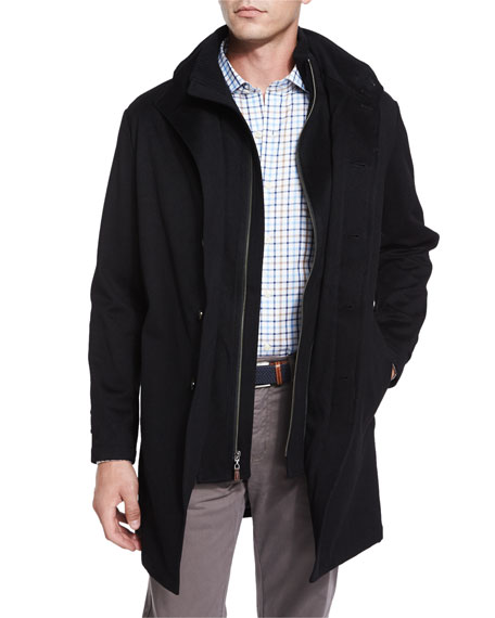 Peter Millar Sebastian Storm System Car Coat, Black