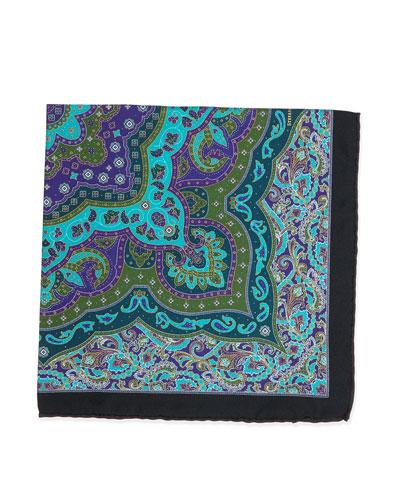 Paisley-Print Handkerchief, Teal
