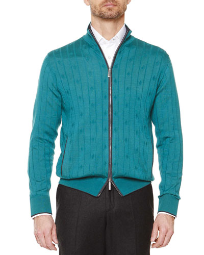 Textured-Diamond Full-Zip Sweater, Teal