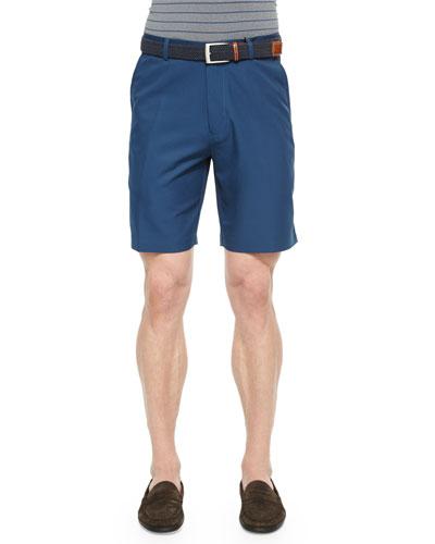 Salem High-Drape Performance Shorts, Navy