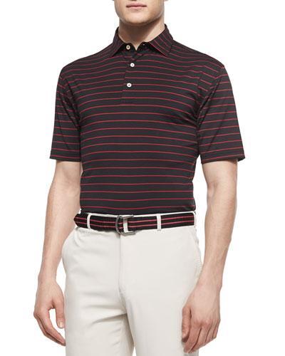 Striped Stretch-Knit Polo Shirt, Black/Red