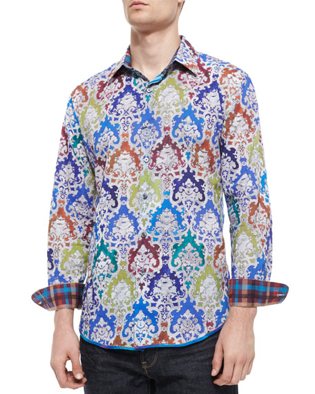 Robert Graham Finn Printed Long-Sleeve Sport Shirt, White