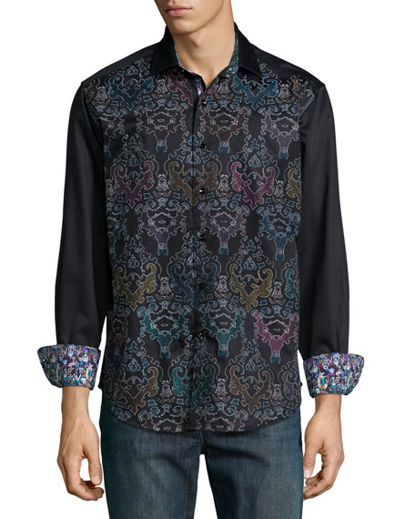 Robert Graham Cumbernauld Printed Long-Sleeve Shirt, Black