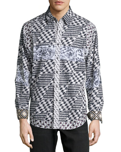 Multi-Printed Long-Sleeve Sport Shirt, Black