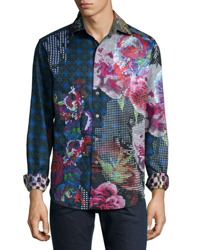 Embroidered Floral-Print Sport Shirt, Black