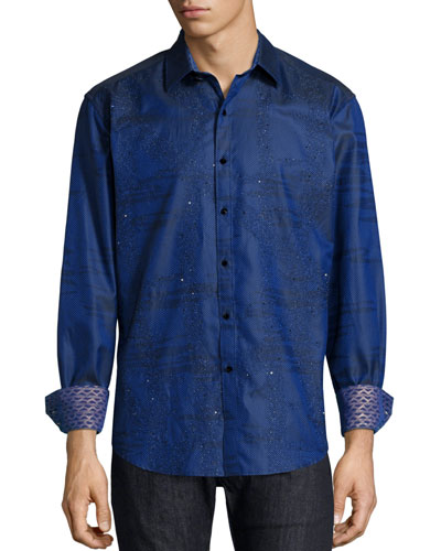 Printed Long-Sleeve Sport Shirt, Navy