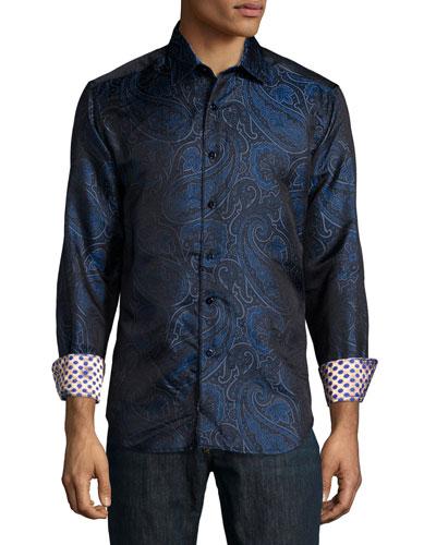 Paisley-Print Silk Sport Shirt, Navy