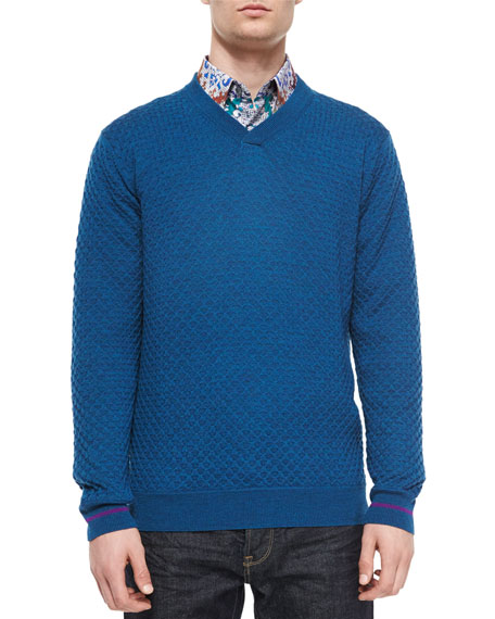 Robert Graham Bagley Textured V-Neck Sweater, Teal