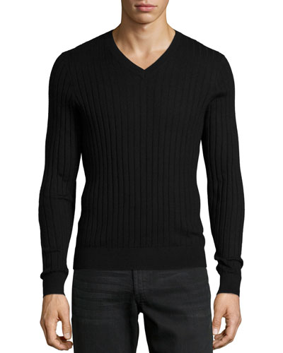 Superfine Cashmere Ribbed V-Neck Sweater, Black