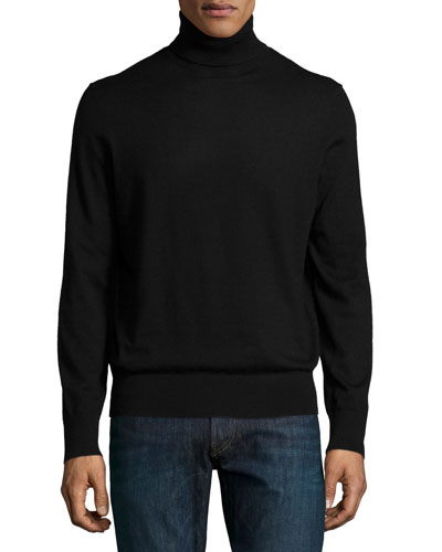 Superfine Cashmere Turtleneck Sweater, Black