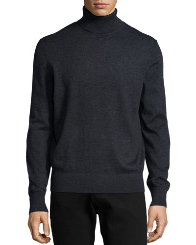 Superfine Cashmere Turtleneck Sweater, Charcoal