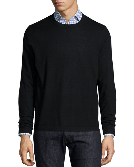 Neiman Marcus Superfine Cashmere Crewneck Sweater, Black