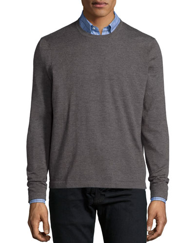 Superfine Cashmere Crewneck Sweater, Tan