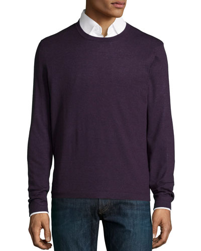 Superfine Cashmere Crewneck Sweater, Dark Purple