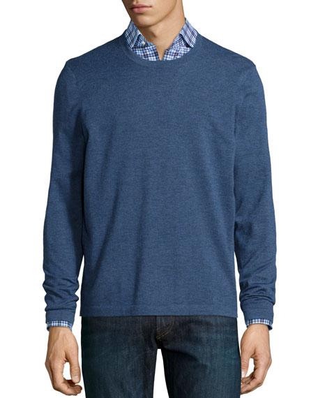Neiman Marcus Superfine Cashmere Crewneck Sweater, Blue