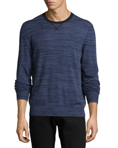 Cashmere Space-Dye Crewneck Sweater, Purple/Gray