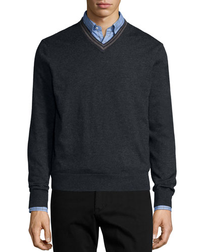 Tipped Superfine Cashmere V-Neck Sweater, Charcoal