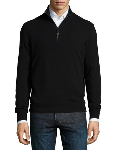 Nano-Cashmere 1/4-Zip Pullover, Black