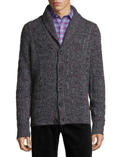 Shawl-Collar Chunky Cable-Knit Cashmere Cardigan, Gray