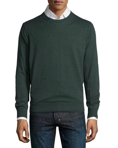 Neiman Marcus Cotton-Blend Crewneck Sweater, Green