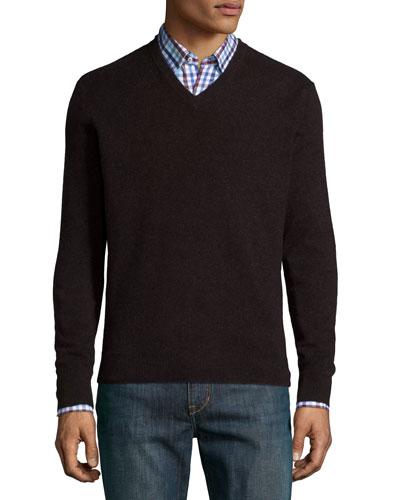 Cashmere V-Neck Sweater, Dark Red