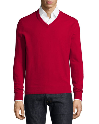 Cashmere V-Neck Sweater, Red