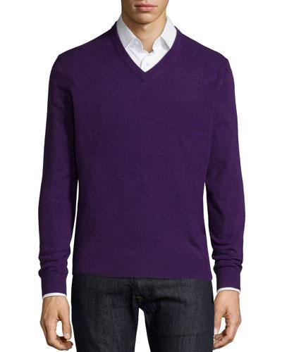 Cashmere V-Neck Sweater, Purple
