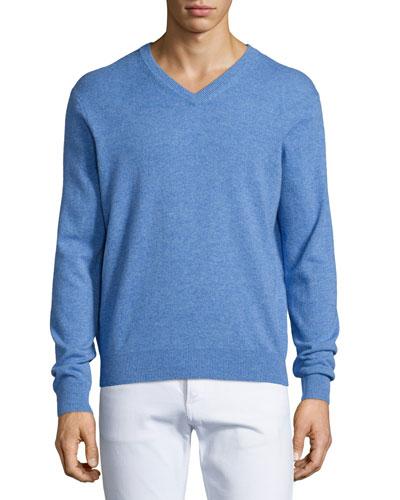 Cashmere V-Neck Sweater, Medium Blue