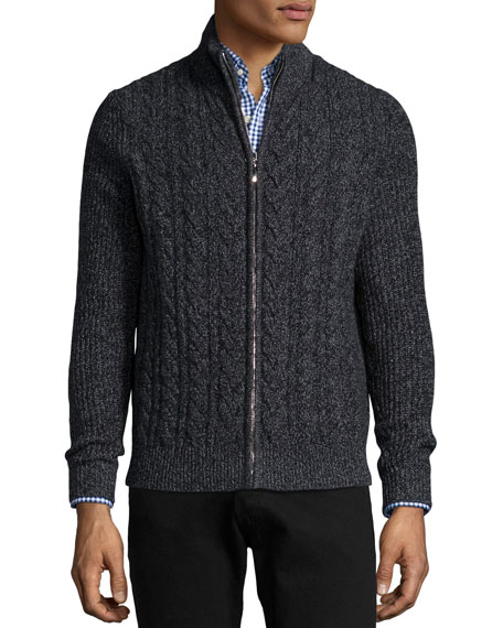 Neiman Marcus Marled Cable-Knit Cashmere Zip Cardigan, Black