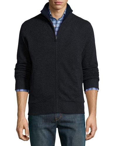 Reversible Full-Zip Cashmere Jacket, Charcoal/Navy