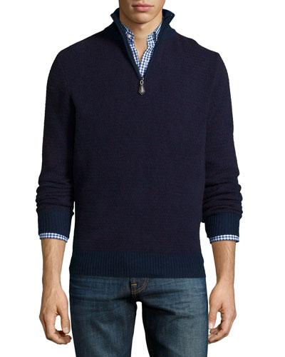 Textured Half-Zip Cashmere Sweater, Navy