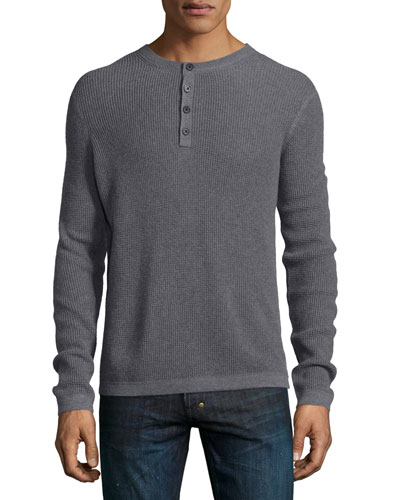 Waffle-Knit Long-Sleeve Henley Shirt, Gray