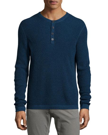 Neiman Marcus Waffle-Knit Long-Sleeve Henley Shirt, Blue