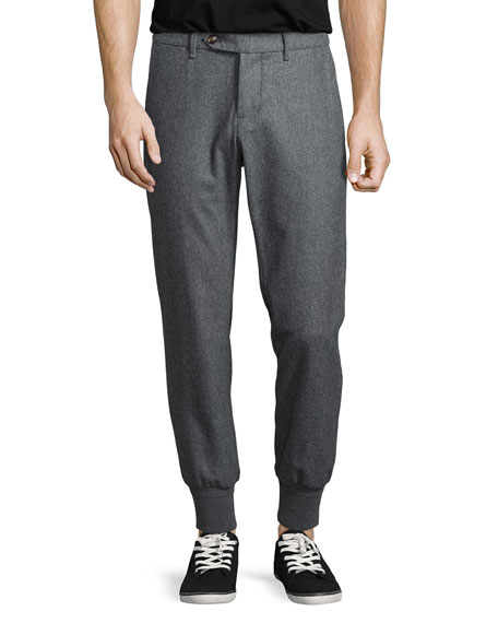 Moncler Wool Flat-Front Tapered Trousers, Gray