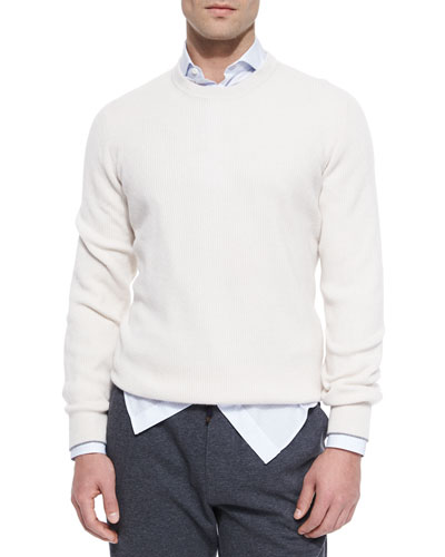 Shaker-Stitch Cashmere Crewneck Sweater, Cream