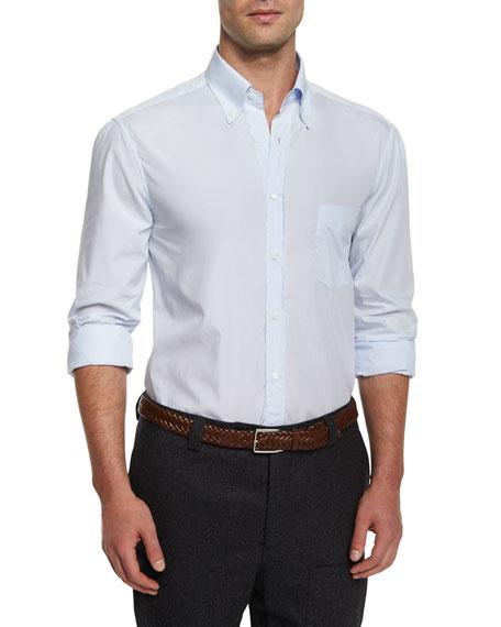 Brunello Cucinelli Micro-Stripe Woven Sport Shirt, Light Blue