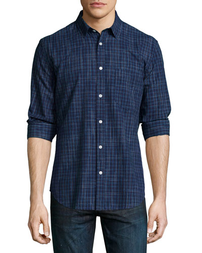 Plaid Long-Sleeve Woven Shirt, Indigo