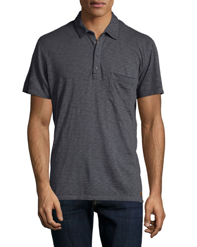 Raw-Edge Short-Sleeve Polo Shirt, Gray
